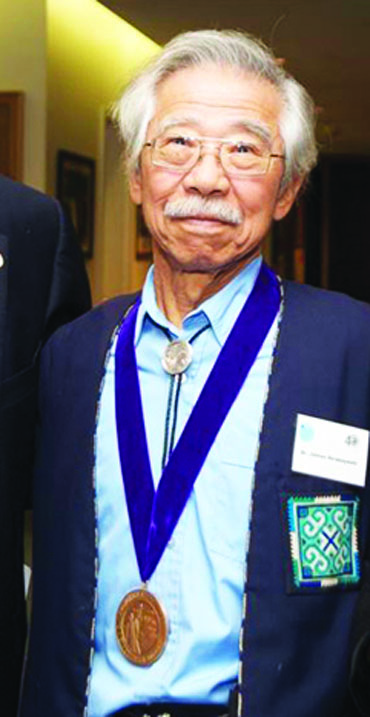 James Hirabayashi with SFSU President's Medal 10-22-2009