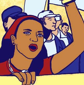 "RRS Logo, Art by Dignidad Rebelde. Features a young woman of color wearing a kerchief and holding a sign saying ""Speak Truth to Power"""