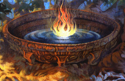 Image is a detail of a mural - a flame in an ornamental vessal.