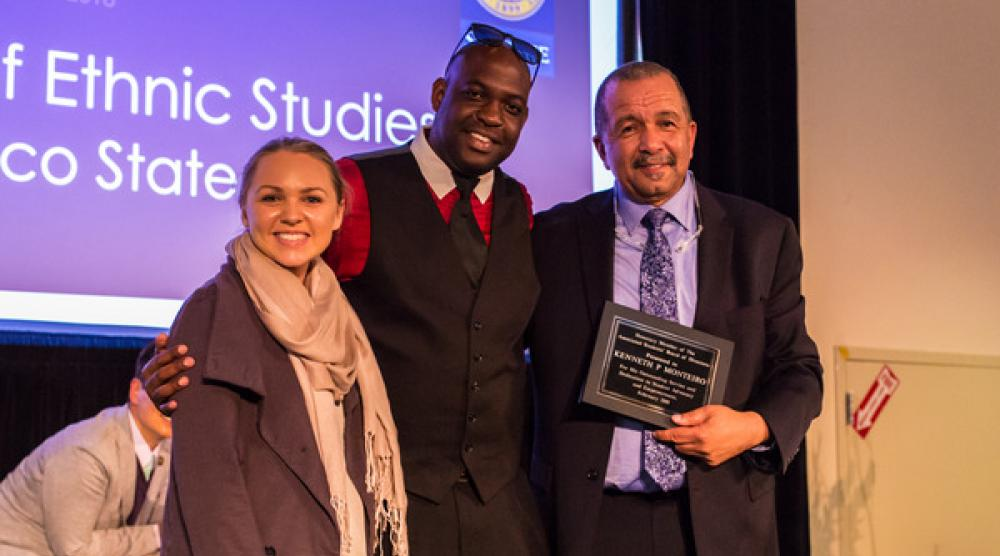 Associated Students President Jackie Foley, Chief Justice Craig Williams, and Former Dean Kenneth Monteiro at the SF State College of Ethnic Studies 50th Anniversaries Launch, Febraury 11, 2018.tudent advocacy and empowerment by naming a scholarship in his name and bestowing honorary membership to the board.