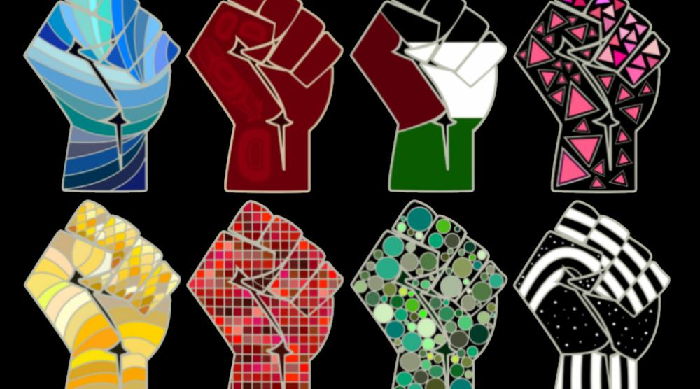 Image of Eight Fists representing Water rights, Red Power, Palestinian Rights, Queer Rights, etc.